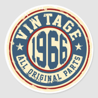 Vintage 1966 All Original Parts Classic Round Sticker