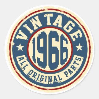 Vintage 1966 All Original Parts Round Sticker