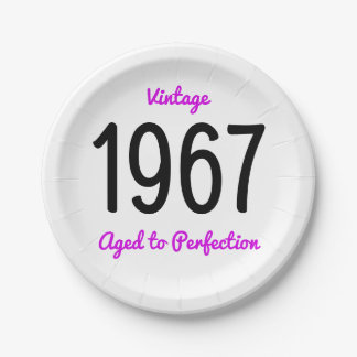 Vintage 1967 Aged To Perfection 50 Birthday Party 7 Inch Paper Plate