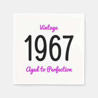 Vintage 1967 Aged To Perfection 50 Birthday Party Disposable Napkins