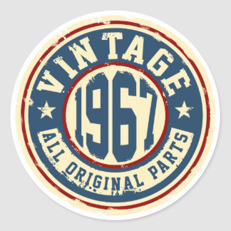 Vintage 1967 All Original Parts Classic Round Sticker