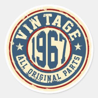 Vintage 1967 All Original Parts Round Sticker
