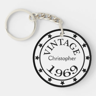 Vintage 1969 birthday year stars custom boys name Double-Sided round acrylic key ring