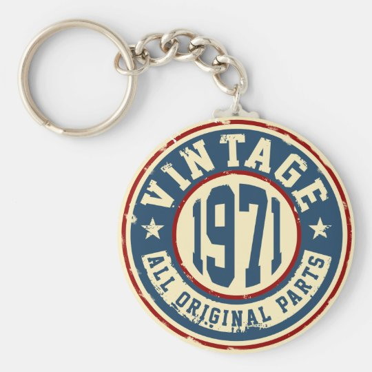 Vintage 1971 All Original Part Basic Round Button Key Ring