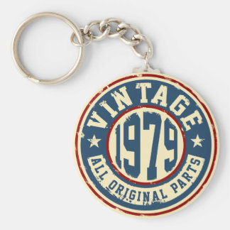 Vintage 1979 All Original Parts Basic Round Button Key Ring