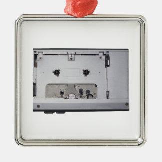 Vintage 1980s Cassette Player Silver-Colored Square Decoration