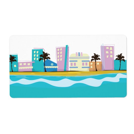 Vintage 1980s Miami Poster Shipping Label