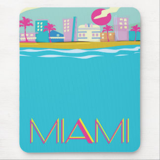 Vintage 1980s Miami Travel poster Mouse Mat