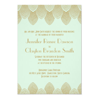 Vintage 20's Art Deco Scallop Mint Gold Wedding Card