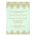 Vintage 20's Art Deco Scallop Mint Gold Wedding 13 Cm X 18 Cm Invitation Card