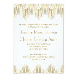 Vintage 20's Art Deco Scallop White Gold Wedding 13 Cm X 18 Cm Invitation Card