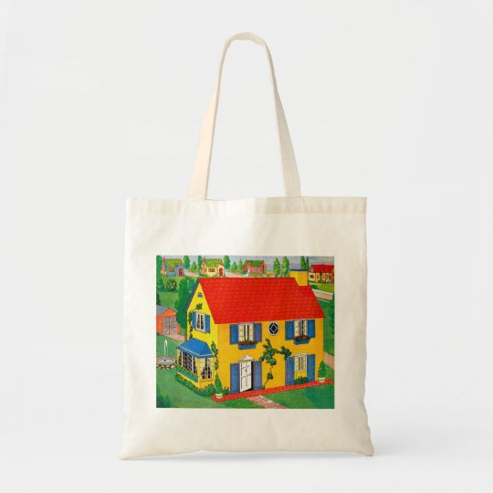 Vintage 20s Toy House Doll House Illustration Tote