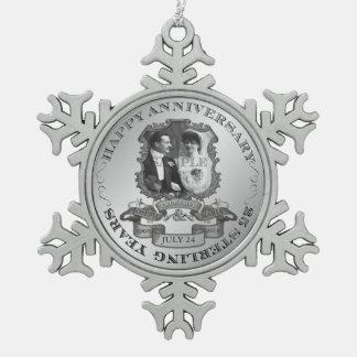 Vintage 25th Anniversary ID195 Pewter Snowflake Decoration