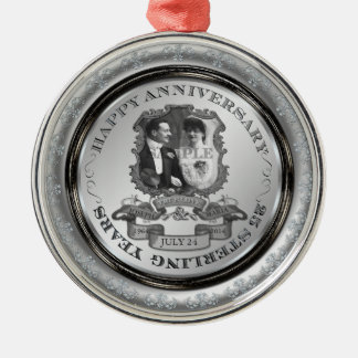 Vintage 25th Anniversary ID195 Silver-Colored Round Decoration
