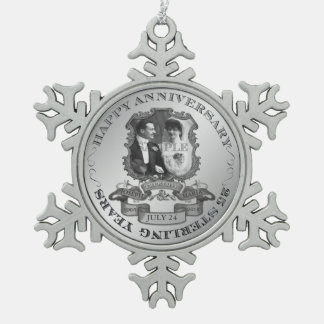 Vintage 25th Anniversary ID195 Snowflake Pewter Christmas Ornament