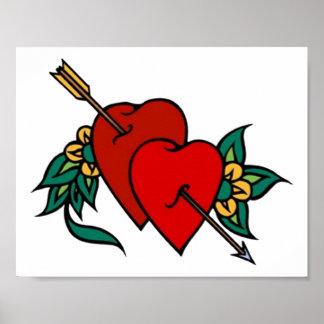 Vintage 2 Hearts Tattoo Art Posters