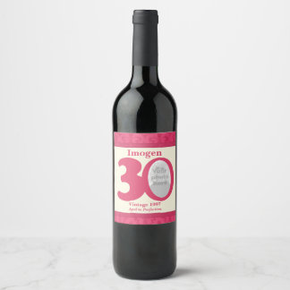 Vintage 30th birthday photo custom wine labels