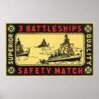 Vintage 3 Battleships Safety Match Label Poster