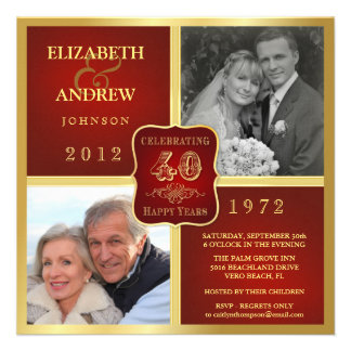 Vintage 40th Anniversary Fancy 2 Photo Invites