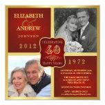 Vintage 40th Anniversary Fancy 2 Photo Invites 13 Cm X 13 Cm Square Invitation Card