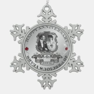 Vintage 40th Anniversary ID195 Pewter Snowflake Decoration