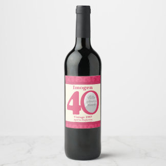 Vintage 40th birthday photo custom wine labels