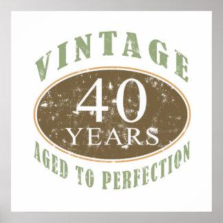 Vintage 40th Birthday Print