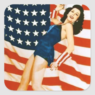 Vintage 4 th of July Pinup Square Sticker