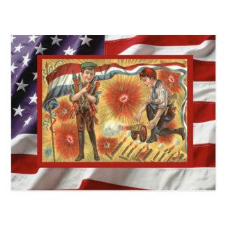 Vintage 4th July, Celebration, firecrackers, boys Postcard