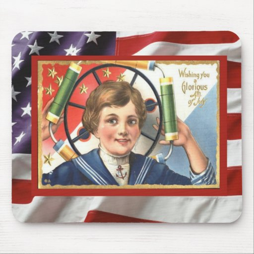 Vintage 4th July celebration, Firecrackers Mouse Pads