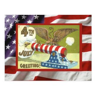 Vintage 4th July, Celebration, gun and eagle Postcard
