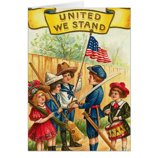 Vintage 4th of July Children with Flag Greeting Card