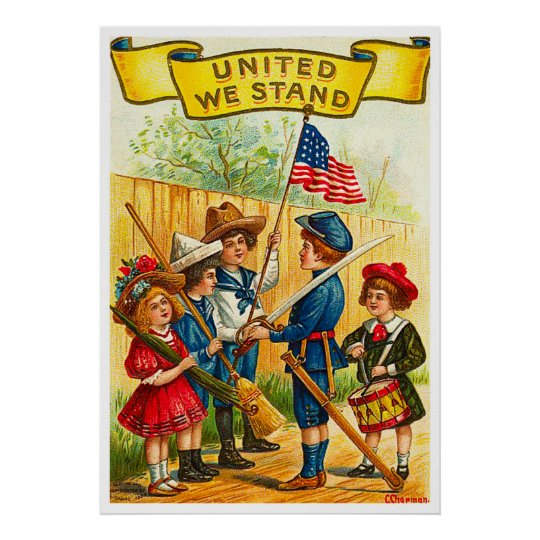 Vintage 4th of July Children with Flag Poster