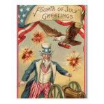 Vintage 4th of July Fireworks with Uncle Sam Postcards