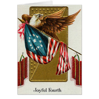 Vintage 4th of July Flag and Eagle Greeting Card