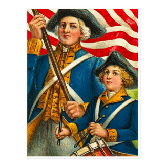 Vintage 4th of July Solider and Drummer Postcard