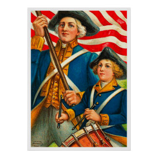 Vintage 4th of July Solider and Drummer Poster