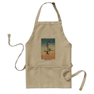 Vintage 4th of July, Woman Riding Eagle with Flag Standard Apron