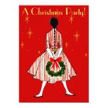 Vintage 50s Christmas Girl Invitation