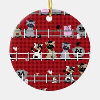 Vintage 50s Country Farm Animals Christmas Ornament