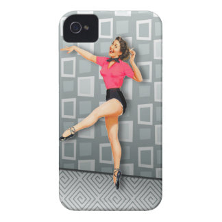 Vintage 50s Dancing Pinup Girl Case-Mate iPhone 4 Cases