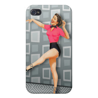 Vintage 50s Dancing Pinup Girl Covers For iPhone 4