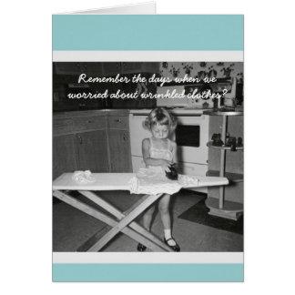 Vintage '50s Girl Ironing Happy Birthday Greeting Cards