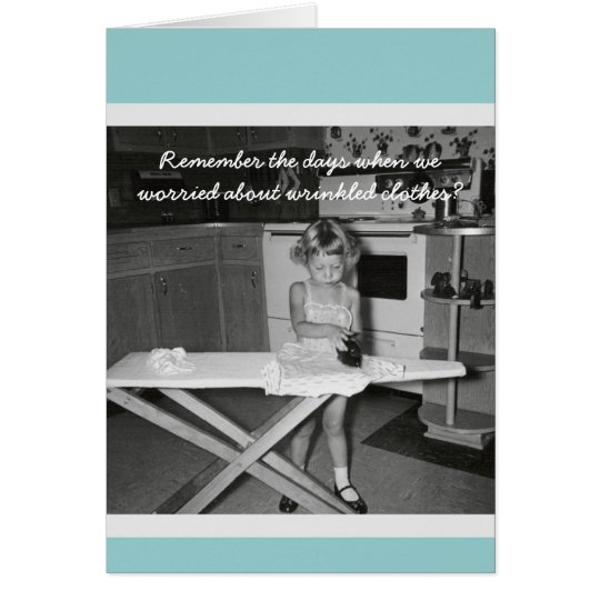 Vintage '50s Girl Ironing Happy Birthday Card