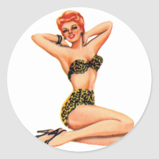 Vintage 50s Pin Up Pinup Swimsuit Girl Kitsch Round Stickers
