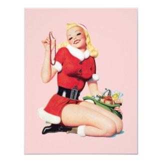 Vintage 50's Pinup Girl 11 Cm X 14 Cm Invitation Card