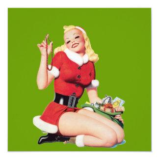 Vintage 50's Pinup Girl 13 Cm X 13 Cm Square Invitation Card