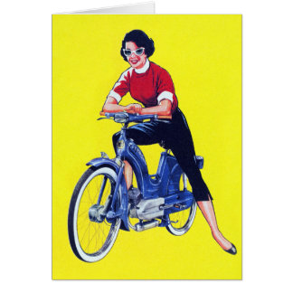 Vintage 50s Women Motorcycle Moped Gal Greeting Card