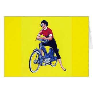 Vintage 50s Women Motorcycle Moped Gal Greeting Card
