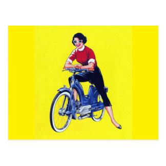 Vintage 50s Women Motorcycle Moped Gal Postcard